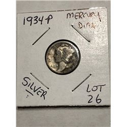 1934 P Silver Mercury Dime