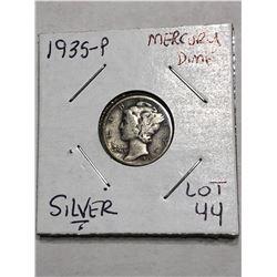 1935 P Silver Mercury Dime