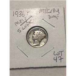 1936 P Early Mercury Silver Dime
