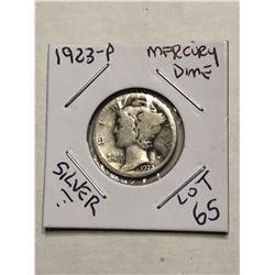 1923 P Silver Mercury Dime