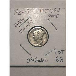 1924 S Early Mercury Silver Dime Original