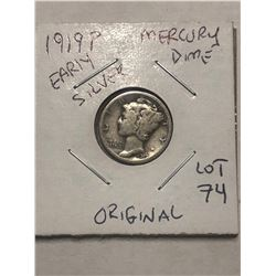 1919 P Early Mercury Silver Dime Original