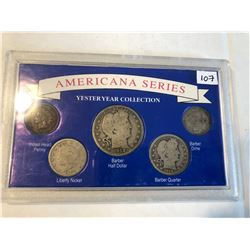 Americana Series Silver US Yesteryear Barber Head  Coin Collection 1912 Barber Half