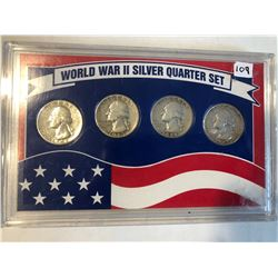 WWII SIlver Quarter 4 Coin Set 42 to 45 Nice Collection