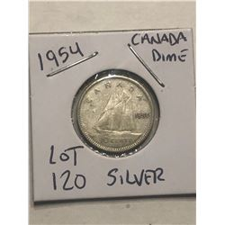 1954 Silver Canadian Dime Nice Early Coin