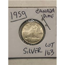 1959 Silver Canadian Dime Nice Early Coin