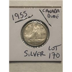1955 Silver Canadian Dime Nice Early Coin