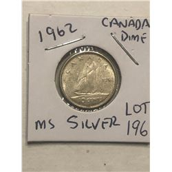1962 Silver Canadian Dime MS High Grade Nice Early Coin