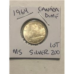 1964 Silver Canadian Dime MS High Grade Nice Early Coin