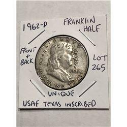 Very Unique Inscribed 1962 D Silver Franklin Half Dollar USAF TEXAS