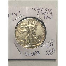 1947 P Silver Walking Liberty Half Dollar Nice Looking Coin