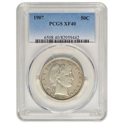 1907 Barber Half Dollar Coin PCGS XF40