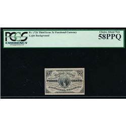 3 Cent Third Issue Fractional Note PCGS 58PPQ