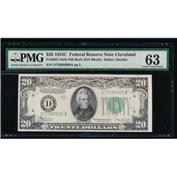 1934C $20 Cleveland Federal Reserve Note PMG 63