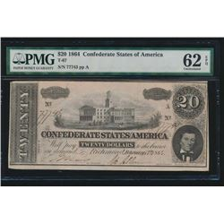 1864 $20 Confederate States of America Note PMG 62EPQ