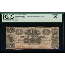 1832 $5 Bank of West Florida Obsolete Note PCGS 35