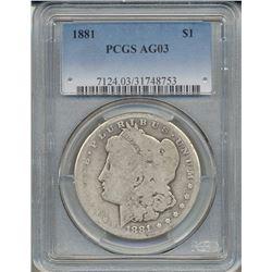 1881 $1 Morgan Silver Dollar Coin PCGS AG03