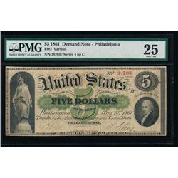 1861 $5 Philadelphia Demand Note PMG 25