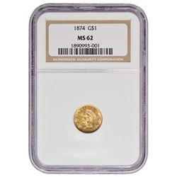 1874 $1 Princess Gold Coin NGC MS62