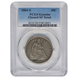 1864-S Seated Liberty Half Dollar PCGS Genuine Cleaned