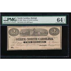 1863 $2 State of North Carolina Obsolete Note PMG 64EPQ