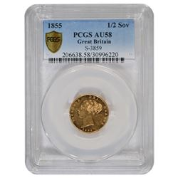 1855 1/2 Sovereign Gold Coin PCGS AU58
