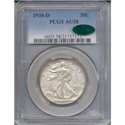 1938-D Walking Liberty Half Dollar Coin PCGS AU58 CAC