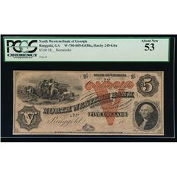 1800's $5 North Western Bank of Georgia Obsolete Note PCGS 53
