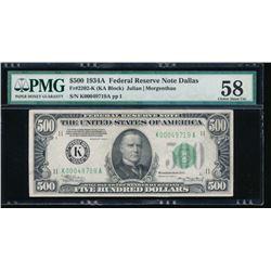1934A $500 Dallas Federal Reserve Note PMG 58