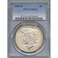 1934-D $1 Peace Silver Dollar Coin PCGS MS64