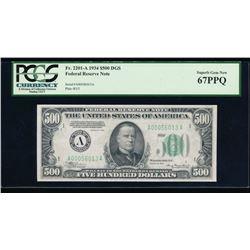 1934 $500 Boston Federal Reserve Note PCGS 67PPQ