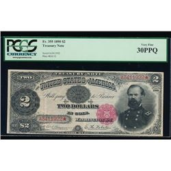 1890 $2 Treasury Note PCGS 30PPQ