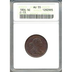 1804 Liberty Half Cent Coin ANACS AU55