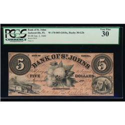 1860 $5 Bank of St Johns Obsolete Note PCGS 30