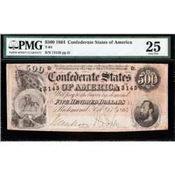 1864 $500 Confederate States of America Note PMG 25