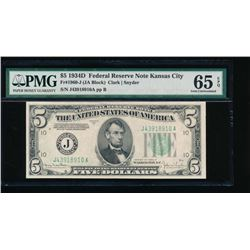 1934D $5 Kansas City Federal Reserve Note PMG 65EPQ