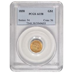 1858 $1 Princess Head Type III Gold Coin PCGS AU58