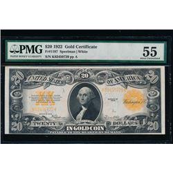 1922 $20 Gold Certificate PMG 55