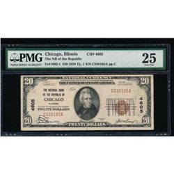 1929 $20 Chicago National Note PMG 25