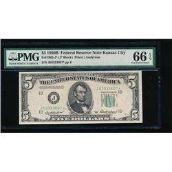1950B $5 Kansas City Federal Reserve Star Note PMG 66EPQ