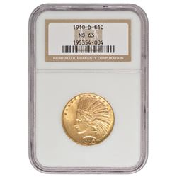 1910-D $10 Indian Head Eagle Gold Coin NGC MS63