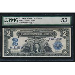 1899 $2 Mini Porthole Silver Certificate PMG 55
