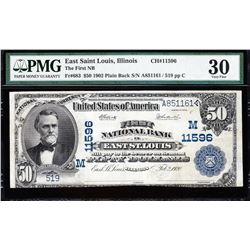 1902 $50 East St Louis National Bank Note PMG 30