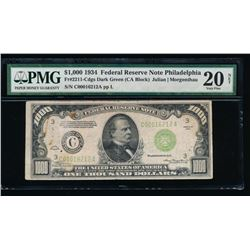 1934 $1000 Philadelphia Federal Reserve Note PMG 20NET