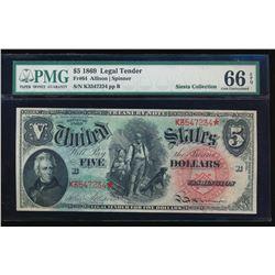 1869 $5 Rainbow Legal Tender Note PMG 66EPQ