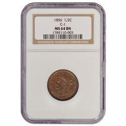 1856 Braided Hair Half Cent NGC MS64BN