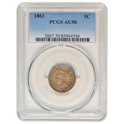 1863 Indian Cent PCGS AU50