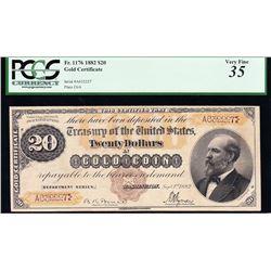 1882 $20 Gold Certificate PCGS 35