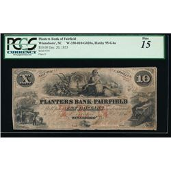 1853 $10 Planters Bank of Fairfield Obsolete Note PCGS 15