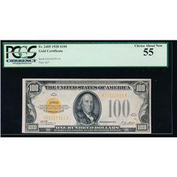 1928 $100 Gold Certificate PCGS 55